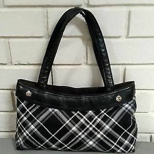 Thirty-One Black & White Plaid Shoulder Bag Purse.